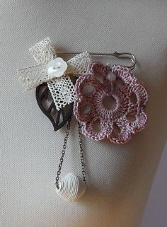 Safety Pin Crochet and charms brooch