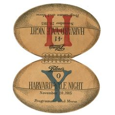 """1915 Harvard-Yale Dinner Program. This figural program, measuring 5.5x7"""", is in like-new condition. It opened flat to reveal the red """"H"""" for """"Harvard"""" on one side, and the blue """"Y"""" for """"Yale"""" on the other. Hosted by Filene's, the event, a """"Harvard-Yale Night"""", took place on November 20, 1915. $363"""