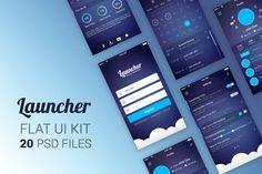 Launcher Flat UI Kit by Krafted on Envato Elements Flat Design Icons, Web Ui Design, Ui Kit, Envato Elements, App Landing Page, Flat Ui, Photoshop, Vector Shapes, Wireframe