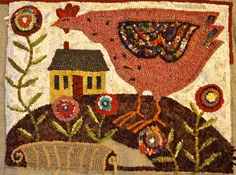 Over the Hill and Running: Crazy chicken rug