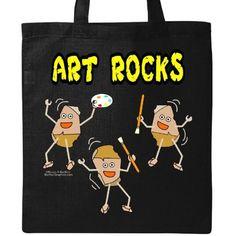 Inktastic Three Art Rocks Light Tote Bag Barthol Artist Painter Paintbrush Palette Funny Humor Paint Brush Chick Draw Oils Charcoal Pencil Pastels Acrylics Canvas Reusable Grocery Book, Women's, Black