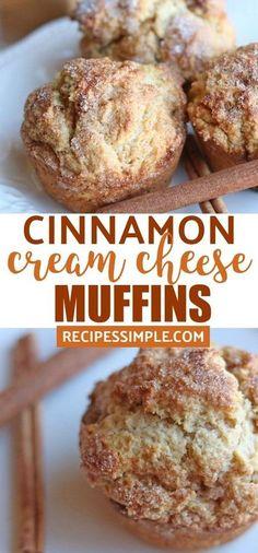 Cinnamon Cream Cheese Muffins are moist and delicious. cheese desserts Cinnamon Cream Cheese Muffins are moist and delicious. Breakfast Bread Recipes, Muffin Recipes, Baking Recipes, Dessert Recipes, Breakfast Muffins, Breakfast Potatoes, Chili Recipes, Cinnamon Muffins, Baking Muffins
