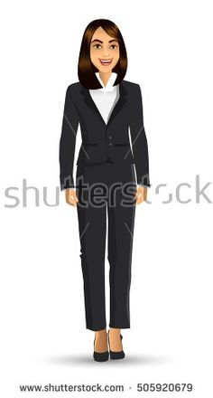 Businesswoman in black suits, with standing position or presentation poses, vector illustration
