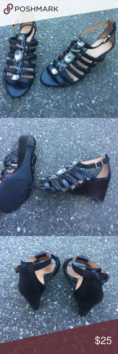 black wedges size 8, no flaws, ships today ANTONIO MELANI Shoes Wedges