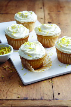 Lemon Ricotta Cupcakes with Fluffy Lemon Frosting from Baking with Less Sugar  via chroniclebooks Lemon Frosting Recipes, Homemade Cupcake Recipes, Cupcake Recipes From Scratch, Lemon Recipes, Sweet Recipes, Icing Recipes, Chef Recipes, Carrot Cake With Pineapple, Bakery Cafe