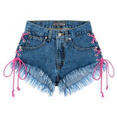Womens denim short made of blue denim Dress Trousers, Slim Fit Trousers, Jeans Dress, Trousers Women, Beautiful Outfits, Cute Outfits, Orange Jeans, Look Con Short, Fleece Shorts