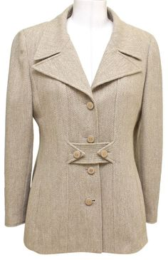 c6a442a4da8c Chanel 96A Jacket Blazer Beige Wool Blend Gold HW Long Sleeve 36 Vintage  DoPEEK!