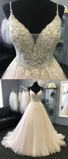 spaghetti straps wedding dresses, bridal gowns with appliques, bridal gowns with pearls #weddingdresses
