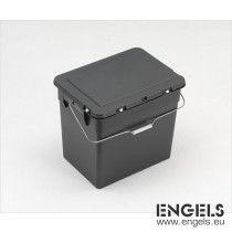 Milieubox 400x310x360 mm, 30 ltr, scharnierdeksel, met hengsel, grijs