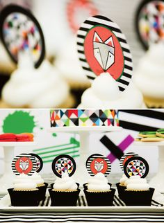 Colorful  Contemporary Geometric Fox Party :: cupcake toppers
