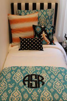 Awesome Monogrammed Dorm Orange And Blue Dorm Fun Dorm Patterns For Bedding Dorm  Room Bedding 2014 Www Part 9