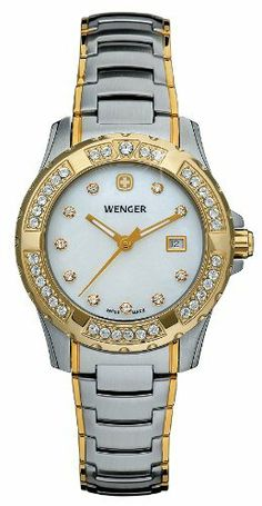 Wenger Women's 70376 Sport Two-Tone Steel Bracelet Watch Wenger. $300.00. Water-resistant to 330 feet (100 M). Luminous hands. Alpine crystal markers on dial and bezel. Swiss-Quartz. Screw-on caseback ensures water-resistancy