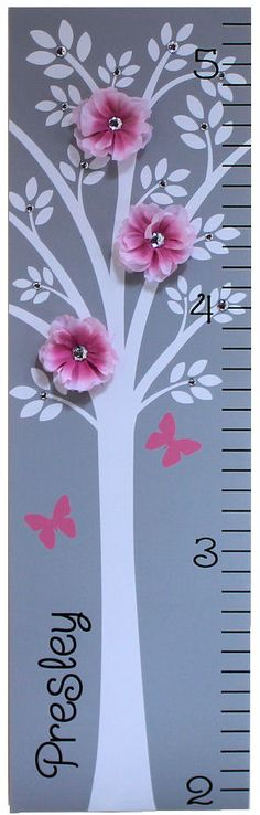 Childrens Growth Chart Canvas Growth Chart Modern Pink Grey Nursery Tree Flower. $44.95, via Etsy. {LOVE this idea! Would be SO EASY to paint on the wall, which I'd prefer to a canvas, then buy the flowers and rhinestones @ Hobby-Lobby to add to the tree...SO going to do this}
