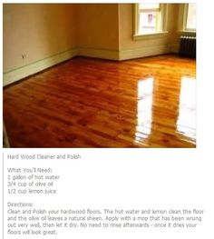 Hardwood Floor Cleaner & Polish with Olive Oil Household Cleaning Tips, Cleaning Recipes, House Cleaning Tips, Deep Cleaning, Cleaning Hacks, Cleaning Checklist, Cleaning Service, Cleaning Solutions, Cleaning Supplies
