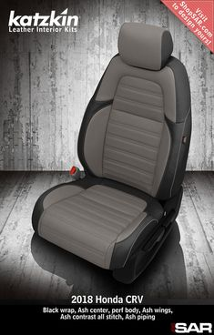 K1082-100 - This is a 2018 Honda CRV seat with Black wrap, Ash center, perf body, Ash wings, Ash contrast all stitch, Ash piping. #Katzkin #Honda #CRV Automotive Upholstery, Car Upholstery, Car Seat Cover Sets, Car Covers, Leather Seat Covers, Leather Seats, Peugeot France, 1966 Chevelle, Honda Crv