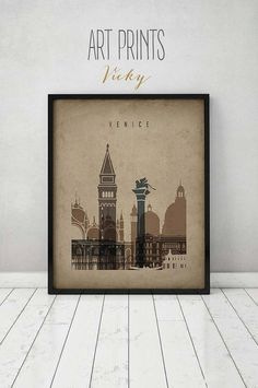 Venice art print, Poster, Wall art, Wall decor, Travel, Venice skyline, Italy cityscape City print, vintage style, Home Decor ArtPrintsVicky