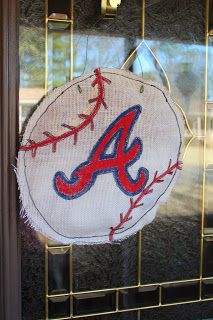 Atlanta Braves Baseball burlap door hanger