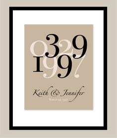 "Custom Anniversary or Wedding Date Print - Anniversary or Wedding Gift - 11""x14"" Art Poster Print. $22.00, via Etsy."