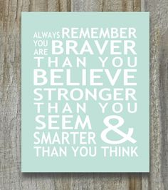 Print Christopher Robin Pooh Quote Braver