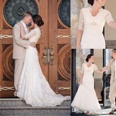 Wholesale A-Line Wedding Dresses - Buy Gorgeous 2015 Lace Long Sleeves Wedding Dresses A Line V Neck Sweep Train Church Garden Bridal Wedding Gowns Best Selling, $148.36   DHgate
