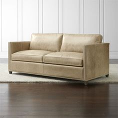 Dryden Leather Full Sleeper with Nailheads and Air Mattress - Crate and Barrel