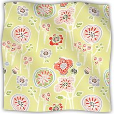 Folky Floral Fleece Throw Blanket