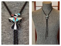 Vintage Sterling Zuni Inlay Bolo Tie - Signed Thunderbird Southwestern Bolo Tie by delilahsdeluxe on Etsy Leather Hats, Braided Leather, Vintage Western Wear, Felt Cowboy Hats, Bolo Tie, Tie Styles, Black Felt, Turquoise Necklace, Pendant