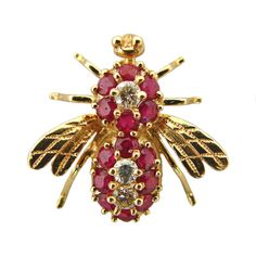 14K Gold Ruby and Diamond Bumble Bee Brooch c.1980 $750.00