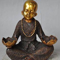 Delightful Monk Lotus Candlestick Holder