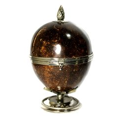 RARE COCONUT SHELL BOX WITH GORGEOUS SILVER PLATING, BEAUTIFUL SHINE, VINTAGE #BritishColonial British Colonial Style, Coconut Shell, Christmas Bulbs, Shells, Plating, Antiques, Holiday Decor, Box, Modern