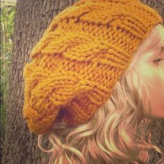 Slouchy knit hat  Mustard knit hat with the perfect slouchy fit. Accessories Hats