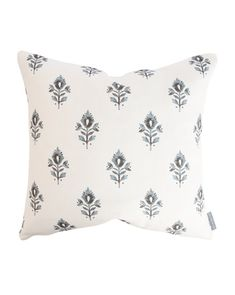 Staying true to woodblock's printed aesthetic, the Addison Block Print pillow cover features a stylized lotus flower in navy, showing the right mix of both modern and traditional elements. Down insert not included. Throw Pillows, Block Printed Pillows, Cozy Throw Pillows, Printed Pillow, Pillow Size Guide, Designer Pillow, Pillows, Pillow Pattern, Block Print