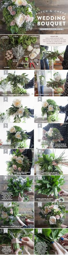 Blue Wedding Flowers Step by step tutorial how to make your own wedding bouquet using gorgeous fresh and crepe paper flowers.: - Step by step tutorial how to make your own diy bridal bouquet using gorgeous fresh and crepe paper flowers. Diy Wedding Bouquet, Diy Bouquet, Diy Wedding Flowers, Diy Flowers, Floral Wedding, Bridal Bouquets, Dress Wedding, Boquette Wedding, Wedding Ideas
