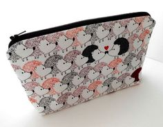 Large Padded Cosmetic Bag Flat Bottom Zipper Pouch ECO Friendly NEW Hedgehog Love by JPATPURSES, $18.00