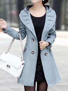 Ericdress Double-Breasted Lapel Hooded Trench Coat Trench Coats