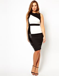 Color Block Dress With Leather Look Panel, for Gwynnie Bee