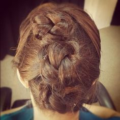 Twist & pin braid   1)Brush your hair back & pin back your fringe.   2)Take a section from each side of your hairline, twist to the back of your head.   3) Twist it around your finger and pin into a bun. #hair #hairstyle #bun #braids