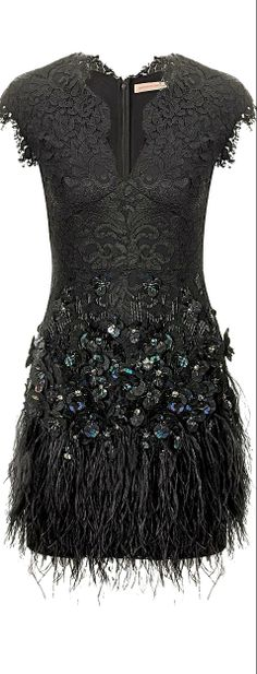 Matthew Williamson ● Black Lace Feathered Dress