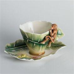 Franz Porcelain Safari Collection Jungle Beauties Monkey Cup & Saucer