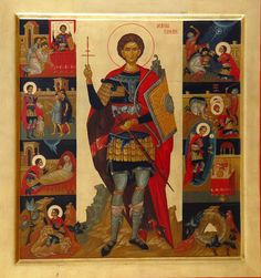 "Romanian-by Elena Murariu~~~ "" icons Saints Byzantine Icons, Saint George, Orthodox Icons, Sacred Art, Religious Art, Warriors, Halo, Saints, Religion"