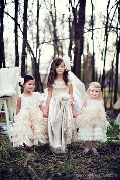 OMG I'm obsessed with these dresses. We could have all 4 of them wear slightly different ones... Supreme Elegant Champagne Flower Girls Dress