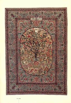 KIRMAN ANTIQUE TREE OF LIFE, THOUSAND FLOWER , 240 X 130 CM 130 YEARS OLD