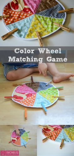 DIY Kids Color Wheel Matching Game tutorial for Preschool or Toddlers. Great way to keep them quiet and busy! Found on www.Craftaholics Anonymous.net
