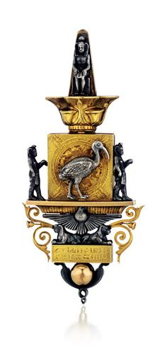 """Victorian Egyptian Revival Gold and Silver """"Ibis"""" Brooch"""