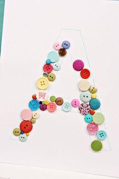 gift presents for kids: diy monogram element craft tutorial - crafts ideas - crafts for kids Diy Arts And Crafts, Cute Crafts, Creative Crafts, Diy Crafts, Button Art, Button Crafts, Button Letters, Button Initial, Sleepover Crafts