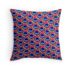 Retro Peacock  by amayabrydon#redbubble #art #design #pattern #Peacock #retro #abstract #coloraddict #retroinspired #designer #pillow #interiordesign #interiors #homedecor #home @redbubble