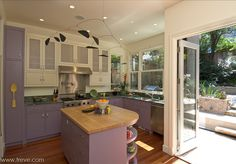 Kitchen interior with purple cabinets - http://treve.photoshelter.com