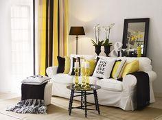 Vitt med en touch svart och gult