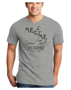 TooLoud Personalized Mr and Mr -Name- Established -Date- Design Adult V-Neck T-shirt