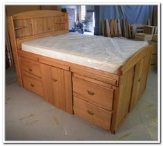 diy full size bed frame with storage - Full Size Storage Bed Frame